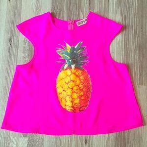 Reverse hot pink pineapple tank top crop chiffon